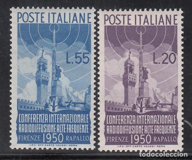 ITALIA, 1950 YVERT Nº 561 / 562 /**/, PALACIO DE SIGNORIA, MONUMENTO A COLÓN, CASTILLO DE RAPALLO (Sellos - Extranjero - Europa - Italia)