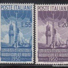 Sellos: ITALIA, 1950 YVERT Nº 561 / 562 /**/, PALACIO DE SIGNORIA, MONUMENTO A COLÓN, CASTILLO DE RAPALLO. Lote 196259728