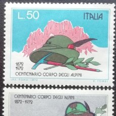 Timbres: 1972. ITALIA. 100 AÑOS DEL CUERPO DE CAZADORES ALPINOS DEL EJÉRCITO ITALIANO. NUEVO.. Lote 199312133