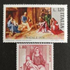 Sellos: ITALIA N°1362/63 MNH, NAVIDAD 1978 (FOTOGRAFÍA REAL). Lote 223549695