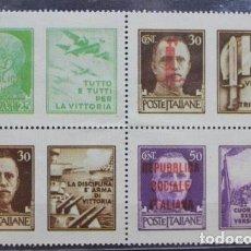 Sellos: BLOQUE 4 SELLOS NUEVOS 1944 VICTOR MANUEL III CON SOBREIMPRESION REPUBLICA SOCIAL ITALIANA. Lote 200836222
