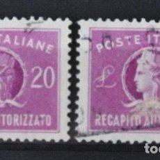 Sellos: 2 SELLOS ITALIA 1949. 20 LIRE RECAPITO AUTORIZZATO. Lote 201121133