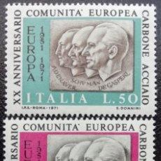 Sellos: 1971. ITALIA. 20 ANIV. DE LA COMUNIDAD EUROPEA DEL CARBÓN Y DEL ACERO (CECA). SERIE COMPLETA. NUEVO.. Lote 203245378