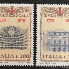 Sellos: ITALIA N°1330/31 MNH, TEATRO SCALA 1978 (FOTOGRAFÍA REAL). Lote 203561355