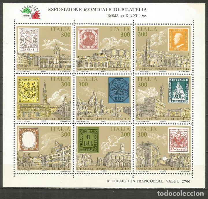 ITALIA HOJITA EXPOSICION MUNDIAL DE FILATELIA ROMA NUEVA SIN FIJASELLOS (Sellos - Extranjero - Europa - Italia)