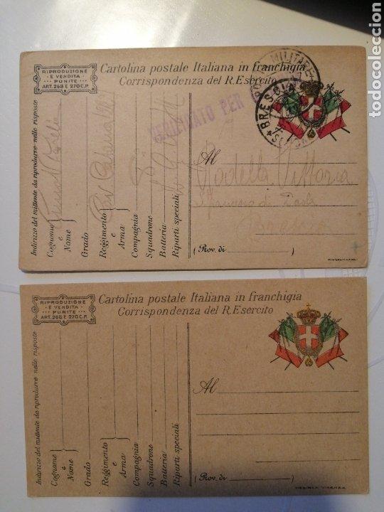 CARTULINA POSTAL ITALIANA FRANQUICIA DOS PIEZAS (Sellos - Extranjero - Europa - Italia)