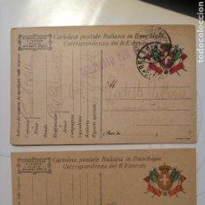 Sellos: CARTULINA POSTAL ITALIANA FRANQUICIA DOS PIEZAS. Lote 204195160