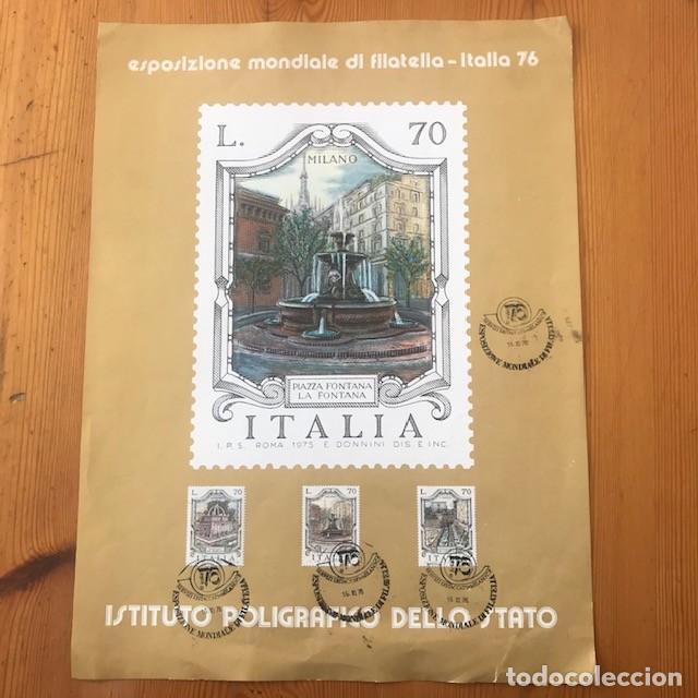 HOJA CONMEMORATIVA DE LA EXPOSICION MUNDIAL DEL SELLO EN MILANO, 1976 (Sellos - Extranjero - Europa - Italia)