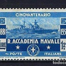 Sellos: 1931 ITALIA YVERT 282 50 ANIVERSARIO ACADEMIA NAVAL MH* NUEVO CON SEÑAL DE FIJASELLOS. Lote 210407262