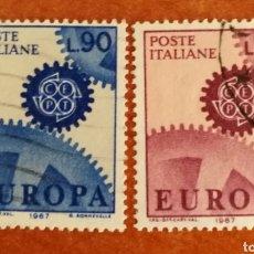 Sellos: ITALIA, EUROPA CEPT 1967 USADA (FOTOGRAFÍA REAL). Lote 212597042