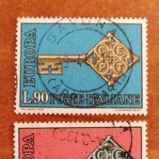 Sellos: ITALIA, EUROPA CEPT 1968 USADA (FOTOGRAFÍA REAL). Lote 212624023