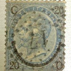 Sellos: SELLO ITALIA AÑO 1865 . ESTADO BUENO . USADO MATASELLO . AZUL 20 C. POSTE ITALIANE. Lote 215123911