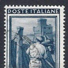 Timbres: ITALIA 1950 - ITALIA TRABAJANDO, 15 LIRAS GRIS AZULADO - USADO. Lote 218601142