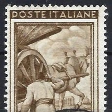 Timbres: ITALIA 1950 - ITALIA TRABAJANDO, 40 LIRAS MARRÓN - USADO. Lote 218601512