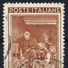 Francobolli: ITALIA 1950 - ITALIA TRABAJANDO, 100 LIRAS MARRÓN - USADO. Lote 218601777