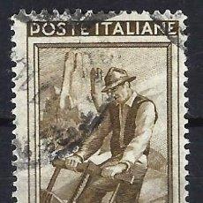 Timbres: ITALIA 1950 - ITALIA TRABAJANDO, 200 LIRAS MARRÓN OLIVA - USADO. Lote 218601850