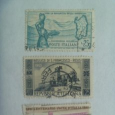 Sellos: LOTE DE 3 SELLOS DE ITALIA : CONMEMORATIVOS. Lote 218739956