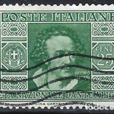 Sellos: ITALIA 1932 - SOCIEDAD DANTE ALIGHIERI - USADO. Lote 218829655