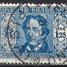 Sellos: ITALIA 1932 - SOCIEDAD DANTE ALIGHIERI - USADO. Lote 218829961