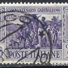 Sellos: ITALIA 1932 - 50º ANIVERSARIO DE LA MUERTE DE GARIBALDI - USADO. Lote 218830223
