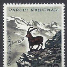 Sellos: ITALIA 1967 - PARQUES NACIONALES, FAUNA, CABRA MONTESA - MH*. Lote 220808348