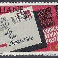 Sellos: ITALIA 1967 - INTRODUCCIÓN DE LOS CÓDIGOS POSTALES - MNH**. Lote 220808675