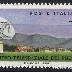 Sellos: ITALIA 1968 - CENTRO DE COMUNICACIONES ESPACIALES EN FUCINO - MNH**. Lote 220812755