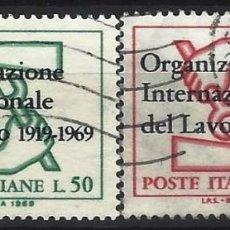 Sellos: ITALIA 1969 - 50º ANIVERSARIO DE LA O.I.T., S.COMPLETA - USADOS. Lote 220813897