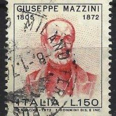Sellos: ITALIA 1972 - CENTENARIO DE LA MUERTE DE MAZZINI - USADO. Lote 220822615