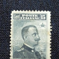 Sellos: ITALIA 15 CENTS REY VICTOR EMMANUEL III, 1912.. Lote 225756340