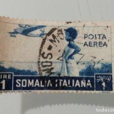 Sellos: ANTIGUO SELLO USADO DE SOMALIA COLONIA ITALIANA DE 1936- CORREO AEREO- YVERT 22- VALOR 1 LIRA. Lote 225973060