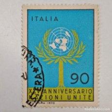Sellos: ITALIA. SELLO USADO DE 90 L, 1970. 25 ANIV. NACIONES UNIDAS. ENVÍO GRATIS POR PEDIDOS DE 3€ O MÁS.. Lote 231533115