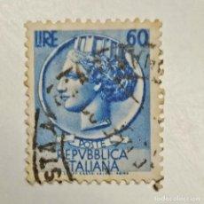 Sellos: ITALIA. SELLO USADO DE 60 LIRE, 1953. SYRACUSEAN COIN. ENVÍO GRATIS POR PEDIDOS DE 3€ O MÁS.. Lote 231654540