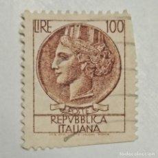 Sellos: ITALIA. SELLO USADO DE 100 LIRE, 1959. SYRACUSEAN COIN. ENVÍO GRATIS POR PEDIDOS DE 3€ O MÁS.. Lote 231694430