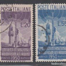 Sellos: ITALIA, 1950 YVERT Nº 561 / 562, CONFERENCIA INTERNACIONAL DE RADIO. Lote 232884120