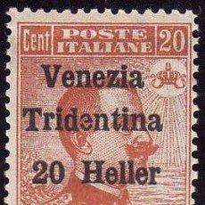 Sellos: FRANCOBOLLO - TRIESTE - ITALIAN OCCUPATION OF TRENTIN (MICHETTI) - 20 C -/ 20 H - 1919 - USATO. Lote 235316150
