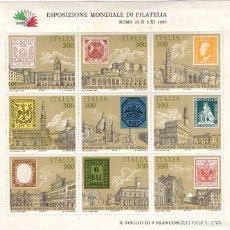 Sellos: ITALIA - EXPOSICION FILATELICA MUNDIAL / DISTINTAS CIUDADES - AÑO 1985 - 1 HB DE 9 SELLOS NUEVOS. Lote 235543050
