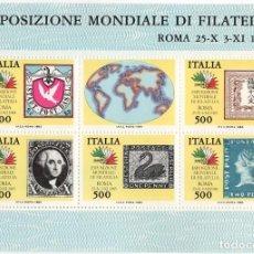 Sellos: ITALIA - EXPOSICION FILATELICA MUNDIAL / ROMA - AÑO 1985 - 1 HB DE 6 SELLOS NUEVOS Y PERFECTOS. Lote 235543815