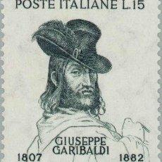 Sellos: FRANCOBOLLO - REP. ITALIA - PORTRAIT OF GIUSEPPE GARIBALDI - 15 L - 1957 - USATO. Lote 236582740