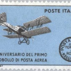 Sellos: FRANCOBOLLO - REP. ITALIA - AIR POMILIO PC 1 THAT CARRIED THE FIRST AIRMAIL IN THE WOR - 25 L - 1967. Lote 236582745