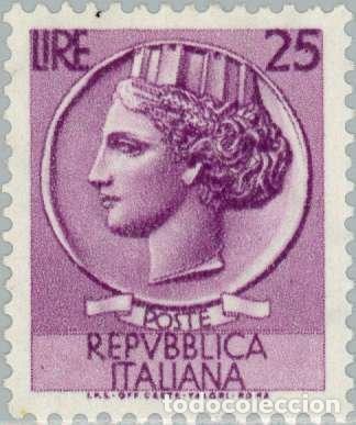 FRANCOBOLLO - REP. ITALIA - COIN OF SYRACUSE - 25 L - 1955 - USATO - FILIGRANA STELLE (Sellos - Extranjero - Europa - Italia)