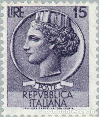 Sellos: Francobollo - Rep. Italia - Coin of Syracuse - 15 L - 1956 - Usato - filigrana stelle - Foto 1 - 236582775