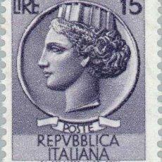 Sellos: FRANCOBOLLO - REP. ITALIA - COIN OF SYRACUSE - 15 L - 1956 - USATO - FILIGRANA STELLE. Lote 236582775