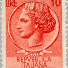 Sellos: FRANCOBOLLO - REP. ITALIA - COIN OF SYRACUSE - 10 L - 1955 - USATO - FILIGRANA STELLE. Lote 236582860