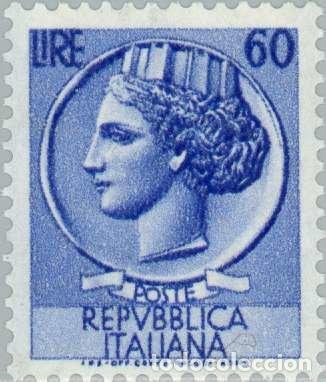 FRANCOBOLLO - REP. ITALIA - COIN OF SYRACUSE - 60 L - 1955 - USATO - FILIGRANA STELLE (Sellos - Extranjero - Europa - Italia)
