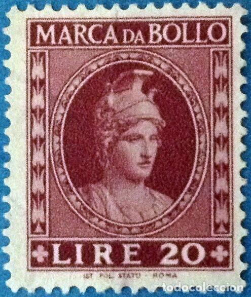 FRANCOBOLLO - REP. ITALIA - ITALY HELMETED - 20 L - 1953 - USATO MARCA DA BOLLO - MARCA DA BOLLO (Sellos - Extranjero - Europa - Italia)