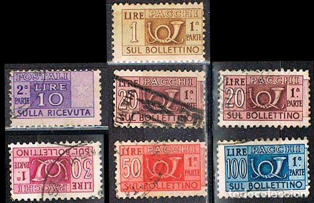 ITALIA, PAQUETE POSTAL, LOTE DE 7 SELLOS USADOS DE LA EMISIÓN DE 1.946, USADOS (Sellos - Extranjero - Europa - Italia)