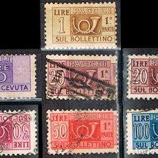 Sellos: ITALIA, PAQUETE POSTAL, LOTE DE 7 SELLOS USADOS DE LA EMISIÓN DE 1.946, USADOS. Lote 236619800