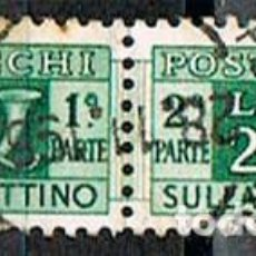 Sellos: ITALIA, PAQUETE POSTAL IVERT Nº 64, CUERNO POSTAL Y CIFRE VALOR, USADO CON LAS DOS PARTES UNIDAS. Lote 236620510