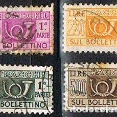 Sellos: ITALIA, PAQUETE POSTAL, CUERNO POSTAL. LOTE DE 4 SELLOS DE LA EMISION DE 1.956, USADO. Lote 236621680